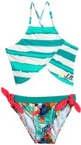 Big Chill Floral and Stripe Tankini Set - Fully Lined (For Little Girls)