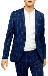 Topman Page Windowpane Check Super Skinny Suit Jacket