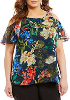 Gibson & Latimer Plus Off-The-Shoulder Ruffle Tropical Print Blouse