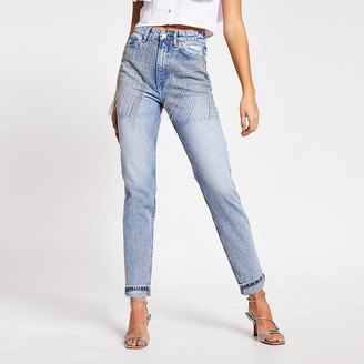 River Island Blue embellished Carrie high rise Mom jeans