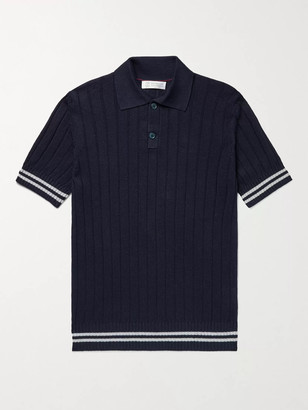 Brunello Cucinelli Slim-Fit Ribbed Striped Linen and Cotton-Blend Polo Shirt - Men - Blue