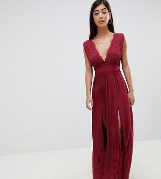Asos DESIGN Petite premium lace insert pleated maxi dress-Red