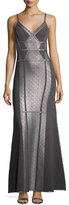 Herve Leger Metallic Foil Sleeveless Ribbon Bandage Gown, Gunmetal