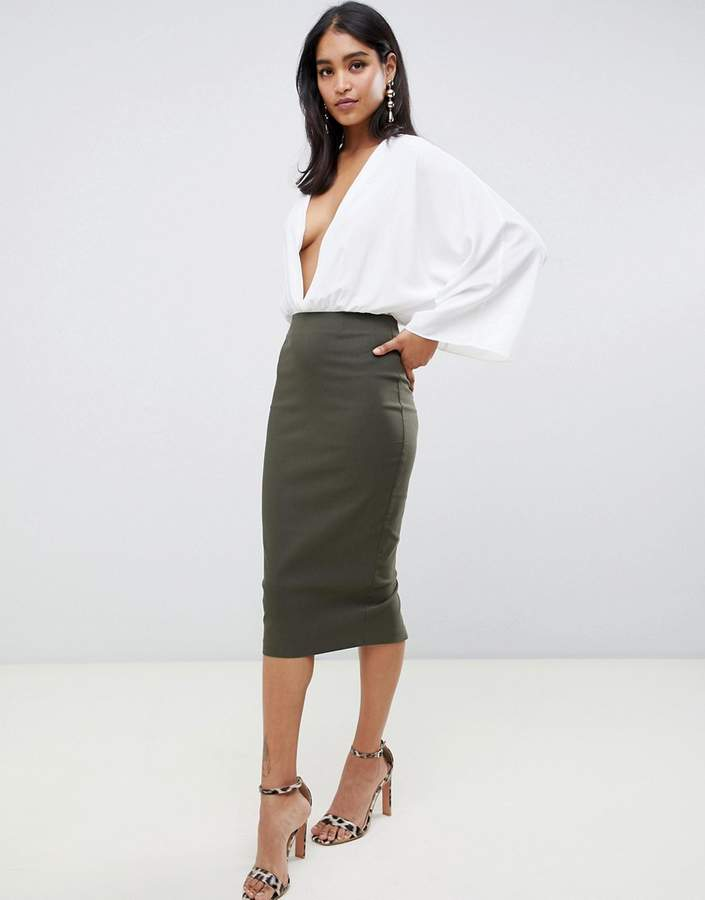 afd378984c6e2f Green High Waisted Pencil Skirt - ShopStyle