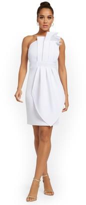 New York & Co. One-Shoulder Ruffled Sheath Dress