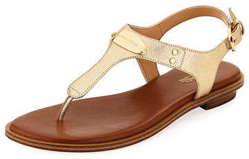MICHAEL Michael Kors MK Plate Metallic Saffiano Flat Thong Sandal