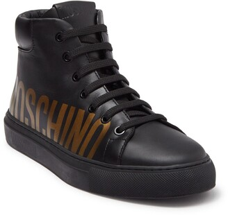 Moschino Logo Print High Top Sneaker