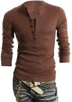 BOMOVOMens Casual Slim Fit Henley Shirts with Button of Waffle Cotton