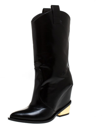 Giuseppe Zanotti Black Leather Pointed Toe Wedge And Block Heel Mid Calf Boots Size 38.5