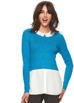 Elle Women's ELLETM Scalloped Mock-Layer Sweater