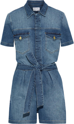 Frame Le Pleated Belted Denim Playsuit