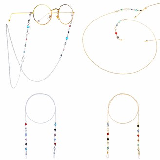Mengh Shop Eyeglass Chains Elegant Eyewear Retainer Colorful Glass Bead Sunglasses Chain Women Reading Glasses Holder Lanyard with Non-Slip Silica Gel Buckles 4 Pieces (Gold and Silver)