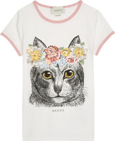Gucci Cat flower cotton T-shirt 4-12 years