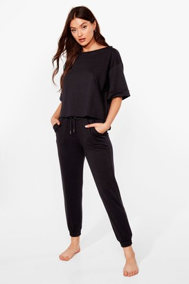 Nasty Gal Womens Give Us the Tee and Joggers Lounge Set - Black - 6