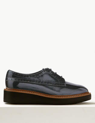 M&S CollectionMarks and Spencer Wide Fit Leather Flatform Brogue Shoes