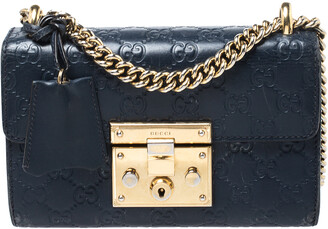 Gucci Navy Blue Guccissima Leather Small Padlock Shoulder Bag