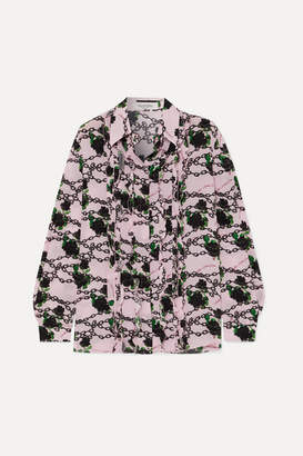 Valentino Ruffled Printed Silk Crepe De Chine Blouse - Pink