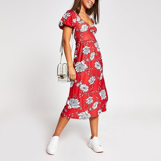 River Island Red floral wrap midi dress