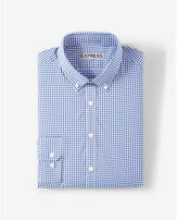 Express slim fit plaid performance dress shirt