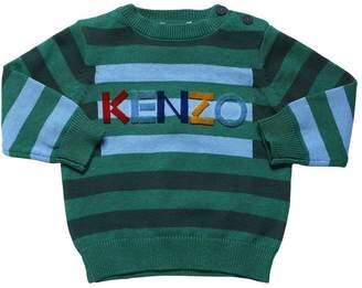 Kenzo STRIPED COTTON & WOOL KNIT SWEATER