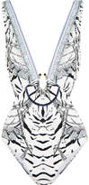 Camilla Chinese Whispers Cutout Embellished Printed Swimsuit - Gray