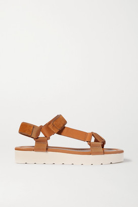 Vince Carver Leather, Suede And Canvas Sandals - Tan