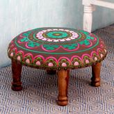 Novica Seesham Wood Cotton Rayon 'Polychrome Jaipur' Foot Stool (India)