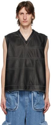 Sunnei Black Leather V-Neck Vest