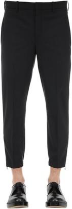 Neil Barrett SLIM WOOL BLEND GABARDINE PANTS W/ ZIPS