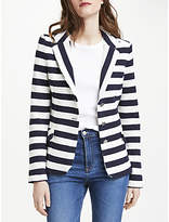 Oui Stripe Cotton Blazer, Navy/White