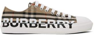 Burberry Beige Larkhall Logo Sneakers