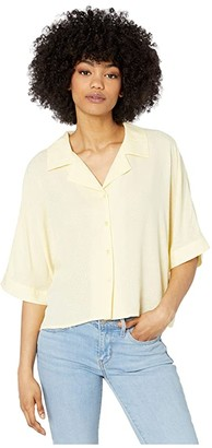 Cupcakes And Cashmere Abra Dotted Rayon Jacquard Collared Dolman Top (Pear Sorbet) Women's Clothing