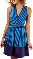 Closet Wrap Over Pleated Dress, Blue