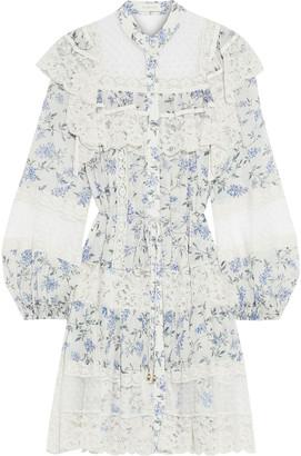 Zimmermann Moncur Flocked Tulle-paneled Ruffled Floral-print Crepe Mini Dress