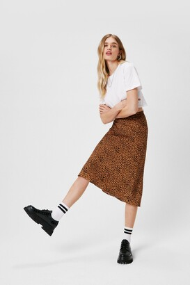 Nasty Gal Womens Claw-t in the Act Satin Midi Skirt - Tan