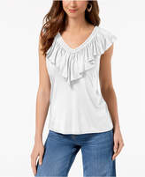 Style&Co. Style & Co Petite Ruffled-Neck Top, Created for Macy's