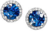 Effy Velvet Bleu by Diffused Sapphire (2 ct. t.w.) and Diamond (1/5 ct. t.w.) Circle Stud Earrings in 14k White Gold