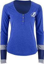 Reebok Women's Tampa Bay Lightning Stripe Henley Long Sleeve T-Shirt
