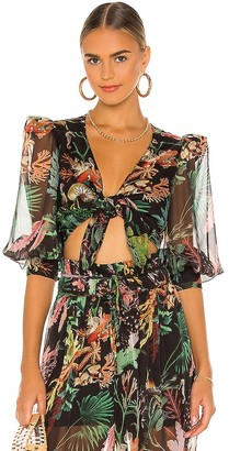 PatBO Oasis Tie Front Cropped Top