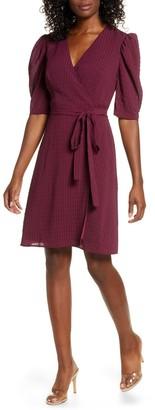 Charles Henry Tonal Check Wrap Dress