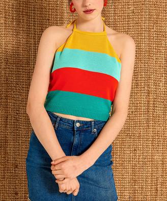 Aqe Fashion AQE Fashion Women's Tank Tops YELLOW - Yellow & Turquoise Stripe Halter Top - Women