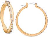 GUESS Pavé Crossover Hoop Earrings