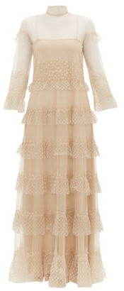 Valentino Beaded Tiered Tulle Gown - Womens - Gold