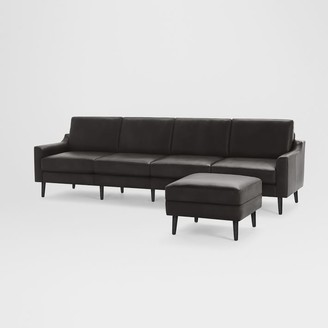 "west elm Burrow Nomad Leather King Sofa with Ottoman (112"")"