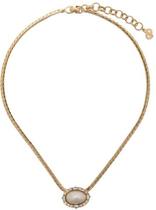Christian Dior Pre Owned 1970's oval pendant necklace