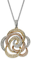 Effy Trio by Diamond Tri-Tone Flower Pendant Necklace in 14k Gold (5/8 ct. t.w.)