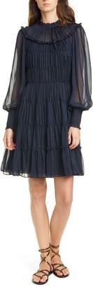 Ulla Johnson Emmeline Shirred Long Sleeve Silk Dress