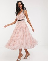 Needle & Thread bow detail midi dress with contrast waistband in pink floral