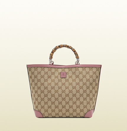 Gucci kid's original GG canvas tote with bamboo top handle