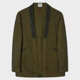 Paul Smith Men's Khaki Textured-Denim Red Ear Kimono Jacket
